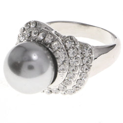 Mi Amore Crystal Sized-Ring Silver-Tone/Gray Size 7.00