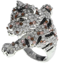 Mi Amore Tiger Crystal Sized-Ring Silver-Tone & Brown Size 6.00