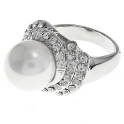 Mi Amore Crystal Sized-Ring Silver-Tone Size 7.00