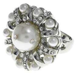 Mi Amore Crystal Sized-Ring Silver-Tone Size 6.00
