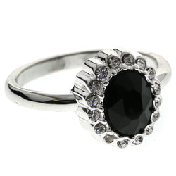 Mi Amore Crystal Sized-Ring Silver-Tone/Black Size 10.00