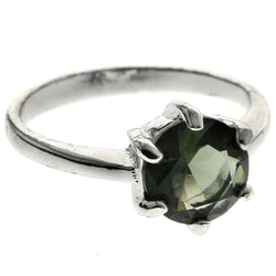 Mi Amore Faceted Sized-Ring Silver-Tone/Green Size 8.00