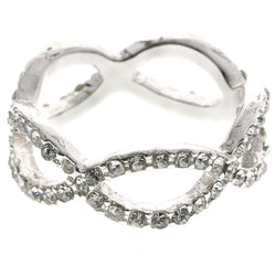 Mi Amore Infinity Design Crystal Sized-Ring Silver-Tone Size 9.00