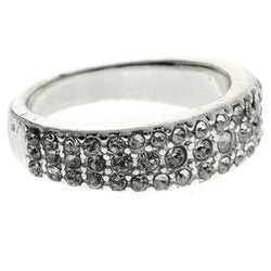 Mi Amore Crystal Sized-Ring Silver-Tone Size 9.00