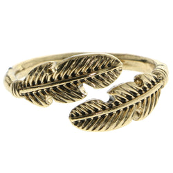 Mi Amore Feather Sized-Ring Gold-Tone Size 9.00