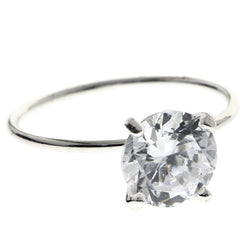 Mi Amore Cubic-Zirconia Sized-Ring Silver-Tone Size 7.00