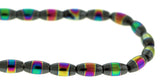 6X12mm Magnetic Hematite Rice With Rainbow Striped Center Mh62 - Mi Amore