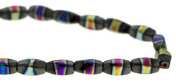 6X12mm Magnetic Hematite Twist With Rainbow Center MH63 - Mi Amore