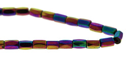 5x8mm Faceted Rainbow Tube Magnetic Hematite MH84 - Mi Amore
