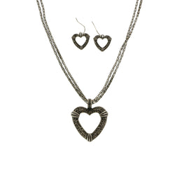 MIXIT Gift Boxed Crystal Accented Heart Necklace-Earring-Set Silver-Tone