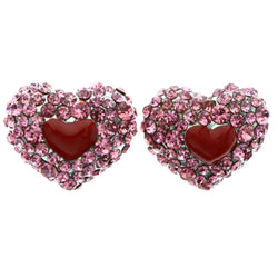 Mi Amore Heart Stud-Earrings Pink