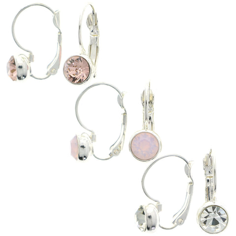 Mi Amore Multiple-Earring-Set Silver-Tone/Pink