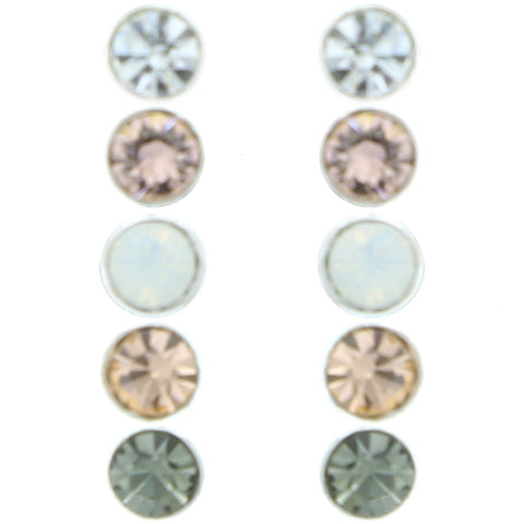 Mi Amore Crystal Multiple-Earring-Set Silver-Tone/Pink