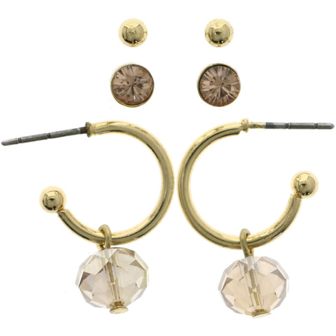 Mi Amore Multiple-Earring-Set Gold-Tone/Pink