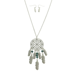 Mi Amore Dreamcatcher Feather Necklace-Earring-Set Silver-Tone & Green