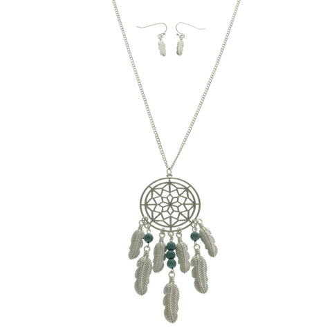 Mi Amore Dream Catcher Feather Necklace-Earring-Set Silver-Tone & Green
