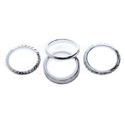 Mi Amore 4 ring set Sized-Ring Silver-Tone/Clear Size 8.00