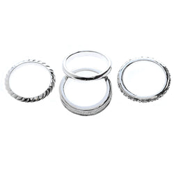 Mi Amore 4 ring set Sized-Ring Silver-Tone/Clear Size 9.00