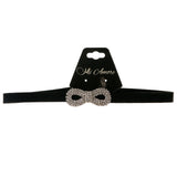 Mi Amore 3 in. extender Bow Choker-Necklace Black & Silver-Tone