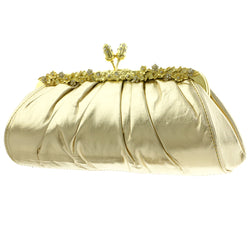 Mi Amore Flower Clutch-Purse Platinum/Gold-Tone