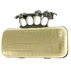 Mi Amore Skull Sword Four Fingered Knuckle Clutch-Purse Gold & Dark-Silver