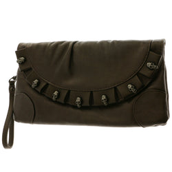 Mi Amore Skull Clutch-Purse Brown/Dark-Silver