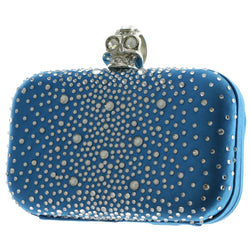Mi Amore Skull Ring Clutch-Purse Blue & Silver-Tone