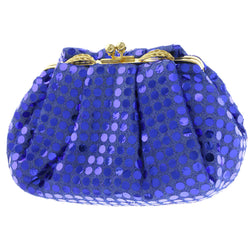 Mi Amore Leaves Clutch-Purse Blue/Gold-Tone