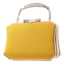 Mi Amore Clutch-Purse Yellow/Silver-Tone