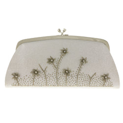 Mi Amore Flower Clutch-Purse Silver