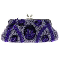 Mi Amore Flower Clutch-Purse Purple/Silver-Tone