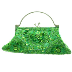 Mi Amore Clutch-Purse Green/Silver-Tone