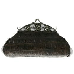 Mi Amore Flower Clutch-Purse Brown/Silver-Tone