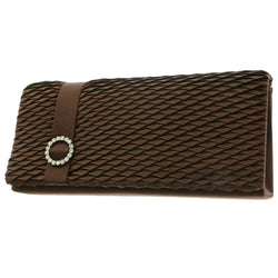 Mi Amore Dual Strap Clutch-Purse Brown/Silver-Tone
