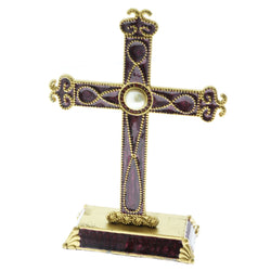 Mi Amore Solid Base Cross Decorative-Paper-Weight Purple & Gold-Tone
