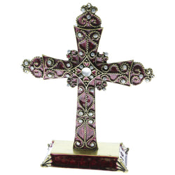Mi Amore Screw Base Cross Decorative-Paper-Weight Purple & Gold-Tone