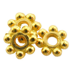 Metal Spacer Bright Goldplate Thin Daisy SPMT07
