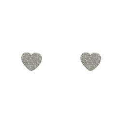 Mi Amore 925 Sterling Silver Heart Stud-Earrings Silver