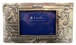 "Pewter picture frame with images of people bowling and the words ""strike"" and ""spare"" engraved around picture slot PF86"
