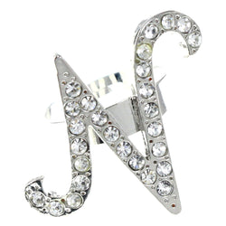 Mi Amore Initial N Adjustable-Ring Silver-Tone Size: Adjustable