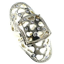 Mi Amore Heart Cut Out Finger Armor Adjustable-Ring Gold-Tone & Silver-Tone Size: Adjustable