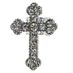 Mi Amore Cross Religious Flower Adjustable-Ring Silver-Tone Size: Adjustable