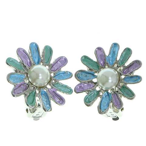 Mi Amore Flower Clip-On-Earrings Silver-Tone/Multicolor
