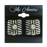Mi Amore Square Shaped Clip-On-Earrings Silver-Tone/Gold-Tone