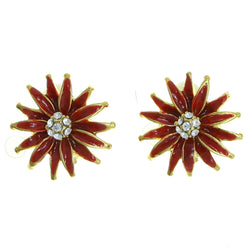 Mi Amore Flower Clip-On-Earrings Gold-Tone/Red