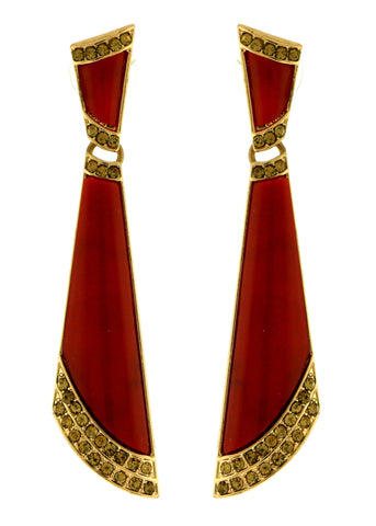 Gold-Tone & Red Colored Metal Dangle-Earrings With Stone Accents #2251