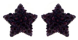 Purple Star Shaped Earrings With Rhinestone Accents TME280