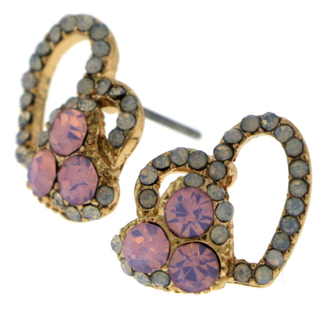 Small Gold-Tone Heart Shaped Earrings With Pink And White Colored Rhinestone Accents TME541
