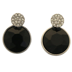 Mi Amore Post w/ drop accent Post-Earrings Silver-Tone/Black