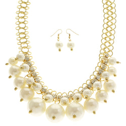 Mi Amore Adjustable Necklace-Earring-Set White/Gold-Tone